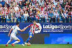 Juanfran (r) of Club Atletico de Madrid competes for the ball with Juan Carlos Perez Lopez 'Juankar' of Malaga CF during their La Liga match between Club Atletico de Madrid and Malaga CF at the Estadio Vicente Calderón on 29 October 2016 in Madrid, Spain. Photo by Diego Gonzalez Souto / Power Sport Images