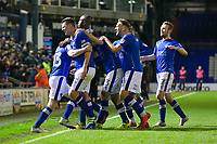 Oldham Athletic's Eoin Doyle celebrates scoring his side's third goal with team-mate during the Sky Bet League 1 match between Oldham Athletic and Rochdale at Boundary Park, Oldham, England on 18 November 2017. Photo by Juel Miah/PRiME Media Images