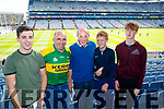 Cian O'Leary (Renard) and Denis Daly (Cahersiveen) with Ger, Alan and Ronan Kirby, (Limerick), pictured at the All Ireland Minor Football Final of Kerry v Derry in Croke Park on Sunday last.