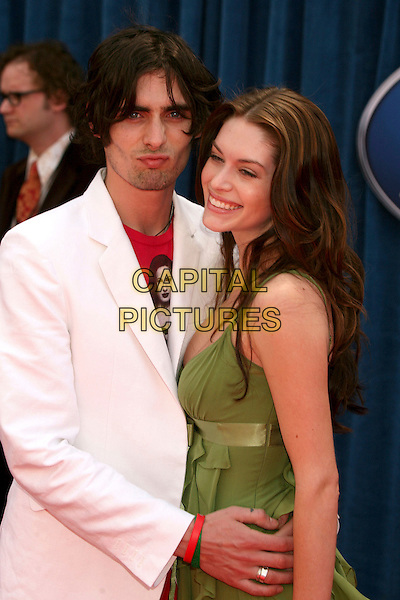"TYSON RITTER & KIM SMITH .""Meet The Robinsons"" Los Angeles Premiere at the El Capitan Theatre, Hollywood, California, USA..March 25th, 2007.half length green dress white suit jacket puckering .CAP/ADM/BP.©Byron Purvis/AdMedia/Capital Pictures"