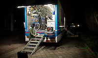 Orica-GreenEDGE mechanics late at work preparing for the race (the next day)<br /> <br /> 106th Milano - San Remo 2015