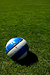 2 September 2007: An NCAA regulation soccer ball lies on the pitch prior to a game between the George Washington University Colonials and the University of Vermont Catamounts at Historic Centennial Field in Burlington, Vermont. The Colonials rallied to defeat the Catamounts 2-1 in overtime during the TD Banknorth Soccer Classic...Mandatory Photo Credit: Ed Wolfstein Photo