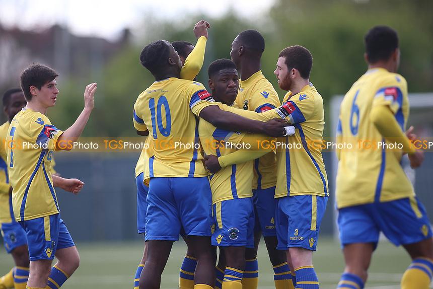 Haringey celebrate an Anthony McDonald (c)  goal during Haringey Borough vs Bowers & Pitsea, Ryman League Division 1 North Football at Coles Park Stadium on 15th April 2017