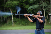 United States President Barack Obama shoots clay target on the range at Camp David, Maryland, Saturday, August 4, 2012. .Mandatory Credit: Pete Souza - White House via CNP