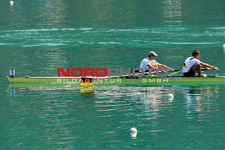 21 June,2014. World Cup Rowing, Aiguebelette, France. Germany 1 with Bastian Bechler and Anton Braun cross the finish line in second position in the men's pair final.<br /> <br /> Foto &copy; nph / Pier Paolo Piciucco