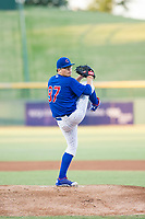 AZL Cubs starting pitcher Faustino Carrera (97) delivers a pitch during a game against the AZL Athletics on August 9, 2017 at Sloan Park in Mesa, Arizona. AZL Athletics defeated the AZL Cubs 7-2. (Zachary Lucy/Four Seam Images)