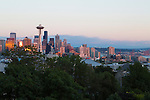 Kerry Park in the neighborhood of Queen Anne in Seattle, WA offers stunning views of Seattle, particularly at sunset when many people gather to watch as the lights come on in the city and the Space Needle is illuminated.