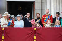 Camilla, Duchess of Cornwall; Prince Charles, Prince of Wales; Princess Beatrice, HM Queen Elizabeth II &amp; Prince Philip, Duke of Edinburgh; Prince Harry; Catherine, Duchess of Cambridge; Princess Charlotte; Prince George &amp; Prince William, Duke of Cambridge; Peter Phillips; Savannah Phillips on the balcony of Buckingham Palace following the Trooping of the Colour Ceremony celebrating the Queen's official birthday. London, UK. <br /> 17 June  2017<br /> Picture: Steve Vas/Featureflash/SilverHub 0208 004 5359 sales@silverhubmedia.com