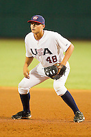 First baseman Corey Seager #48 of the USA 18u National Team on defense against the USA Baseball Collegiate National Team at the USA Baseball National Training Center on July 2, 2011 in Cary, North Carolina.  The College National Team defeated the 18u team 8-1.  Brian Westerholt / Four Seam Images