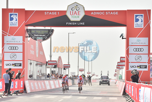 UAE Team Emirates approach the finish line of Stage 1 of the 2019 UAE Tour, a team time trial running 16km around Al Hudayriat Island, Abu Dhabi, United Arab Emirates. 24th February 2019.<br /> Picture: LaPresse/Massimo Paolone | Cyclefile<br /> <br /> <br /> All photos usage must carry mandatory copyright credit (© Cyclefile | LaPresse/Massimo Paolone)