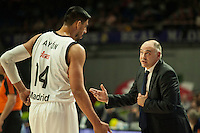 Real Madrid´s Gustavo Ayon and Pablo Laso during 2014-15 Euroleague Basketball match between Real Madrid and Anadolu Efes at Palacio de los Deportes stadium in Madrid, Spain. December 18, 2014. (ALTERPHOTOS/Luis Fernandez) /NortePhoto /NortePhoto.com