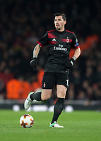 Alessio Romagnoli of AC Milan in action during the UEFA Europa League round of 16 2nd leg match between Arsenal and AC Milan at the Emirates Stadium, London, England on 15 March 2018. Photo by Vince  Mignott / PRiME Media Images.