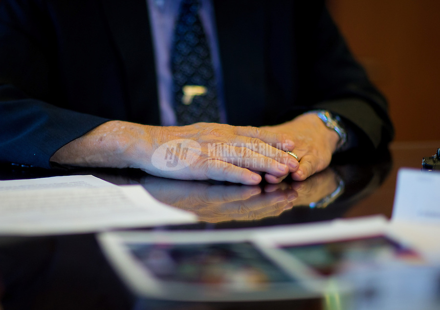 Jan 21, 2015; Phoenix, AZ, USA; Detailed view of the hands of Maricopa County sheriff Joe Arpaio in his office in downtown Phoenix. Mandatory Credit: Mark J. Rebilas-