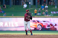 Frisco RoughRiders Yonny Hernandez (54) throws to first base during a Texas League game against the Amarillo Sod Poodles on July 12, 2019 at Dr Pepper Ballpark in Frisco, Texas.  (Mike Augustin/Four Seam Images)