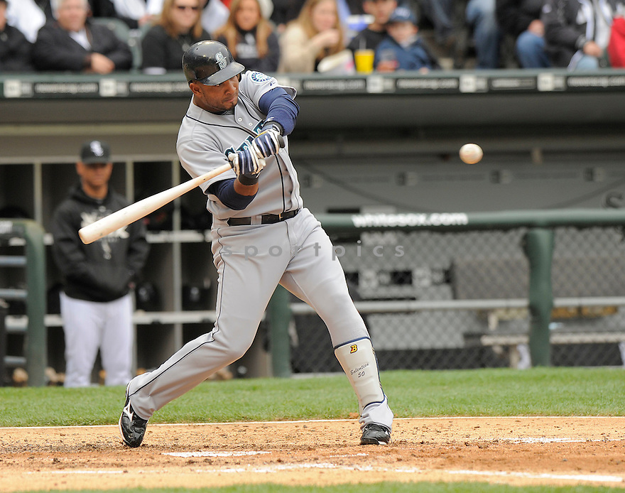 WLADIMIR BALENTIEN, of the Seattle Mariners  , in action  during the Mariners  game against the Chicago White Sox on April 28, 2009 in Chicago, IL.  The White Sox beat  the Mariners  6-3  in Chicago,