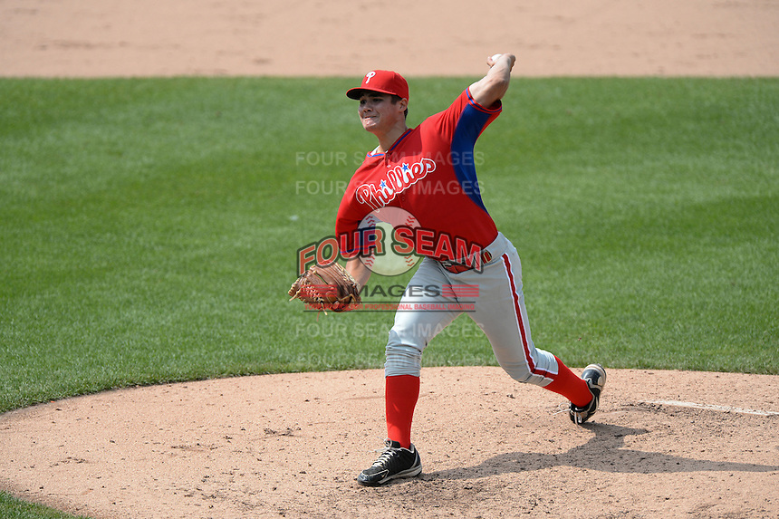 Brendon Little (51) of Conestoga High School in Malvern, Pennsylvania playing for the Philadelphia Phillies scout team during the East Coast Pro Showcase on July 30, 2014 at NBT Bank Stadium in Syracuse, New York.  (Mike Janes/Four Seam Images)