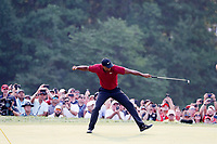 Tiger Woods (USA) reacts to making a birdie putt on the 18th hole during the final round of the 100th PGA Championship at Bellerive Country Club, St. Louis, Missouri, USA. 8/12/2018.<br /> Picture: Golffile.ie | Brian Spurlock<br /> <br /> All photo usage must carry mandatory copyright credit (&copy; Golffile | Brian Spurlock)