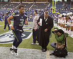 Seattle Seahawks quarterback Russell Wilson heads to the locker room after leading the Seahawks to a 30-20 win over the Minnesota Vikings at CenturyLink Field in Seattle, Washington on November 4, 2012.  Wilson completed 16 of 24 passes for 173 yards and three touchdowns in the Seahawks 30-20 win over the Vikings.      ©2012. Jim Bryant Photo. All Rights Reserved.