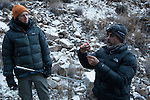 Snow Leopard (Panthera uncia) veterinarian, Ric Berlinski, drawing immobilization drug with volunteer, David Cooper, holding jab stick, during collaring of male snow leopard, Sarychat-Ertash Strict Nature Reserve, Tien Shan Mountains, eastern Kyrgyzstan