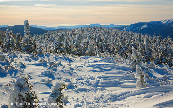 Appalachian Trail - Mountain scene from Carter-Moriah Trail in winter conditions near Middle Carter Mountain  the White Mountains, New Hampshire.
