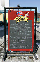January 22, 2005, Toronto (Ontario) CANADA<br /> <br /> Menu outside an irish pub in downtown Toronto, canada<br /> Photo (c) 2005 P Roussel / Images Distribution