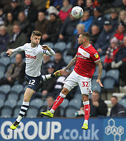 Preston North End's Paul Gallagher jumps with Bristol City's Jack Hunt<br /> <br /> Photographer Mick Walker/CameraSport<br /> <br /> The EFL Sky Bet Championship - Preston North End v Bristol City - Saturday 2nd March 2019 - Deepdale Stadium - Preston<br /> <br /> World Copyright © 2019 CameraSport. All rights reserved. 43 Linden Ave. Countesthorpe. Leicester. England. LE8 5PG - Tel: +44 (0) 116 277 4147 - admin@camerasport.com - www.camerasport.com