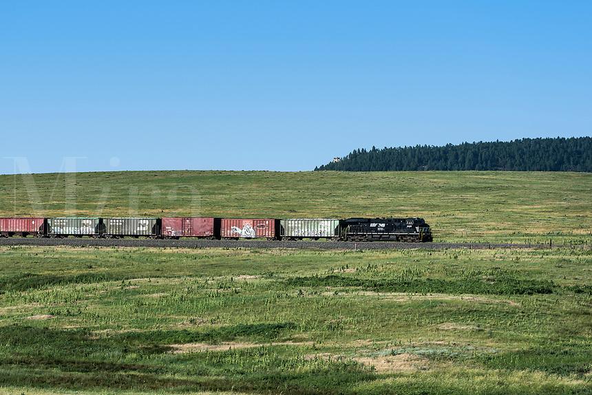 Train transports cargo through the Colorado landscape.