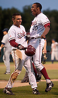 STANFORD, CA - May 10, 2011: Austin Wilson celebrates Tyler Gaffney of Stanford baseball's run during Stanford's game against Arizona at Sunken Diamond. The run was called back but Gaffney would score later that inning on a Brett Michael Doran hit. Stanford won 1-0.
