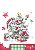 Sharon, CHRISTMAS ANIMALS, WEIHNACHTEN TIERE, NAVIDAD ANIMALES, GBSS, paintings+++++,GBSSC50XFCC,#XA# ,black,white