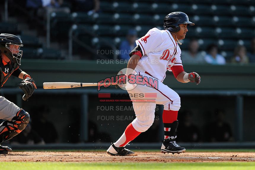 First baseman Boss Moanaroa (29) of the Greenville Drive bats in a game against the Delmarva Shorebirds on Monday, April 29, 2013, at Fluor Field at the West End in Greenville, South Carolina. Delmarva won, 6-5 in game one of a doubleheader. (Tom Priddy/Four Seam Images)