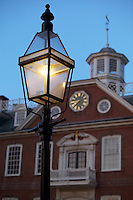 USA Newport, RI - A gas lamp in the foreground of the Newport Colony house.