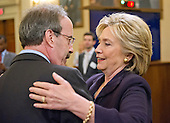 United States Representative Eliot Engel (Democrat of New York) hugs former United States Secretary of State Hillary Rodham Clinton, a candidate for the 2016 Democratic Party nomination for President of the United States, during  break in the testimony before the US House Select Committee on Benghazi on Capitol Hill in Washington, DC on Thursday, October 22, 2015.<br /> Credit: Ron Sachs / CNP<br /> (RESTRICTION: NO New York or New Jersey Newspapers or newspapers within a 75 mile radius of New York City)