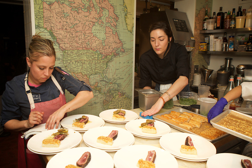 NEW YORK, NY - March, 8, 2017: &quot;Women First!&quot; a dinner at the James Beard House featuring female chefs from around the country in honor of International Women's Day. The dinner, led by Joy Crump of FOOD &Eacute; in Virginia, included Karen Akunwicz of Meyers &amp; Chang in Boston, Stacy Cogswell of RFK Kitchen in Needham, MA, and Caitlin Dysart of Centrolina in Washington, DC in the kitchen.<br /> <br /> Credit: Clay Williams for The James Beard Foundation.<br /> <br /> &copy; Clay Williams / http://claywilliamsphoto.com