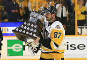 June 11th 2017, Nashville, TN, USA;  Pittsburgh Penguins center Sidney Crosby (87) is shown with the Conn Smythe Trophy following Game 6 of the Stanley Cup Final between the Nashville Predators and the Pittsburgh Penguins, held on June 11, 2017, at Bridgestone Arena in Nashville, Tennessee.