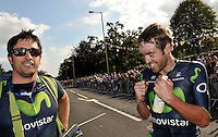 Picture by Simon Wilkinson/SWpix.com - 12/09/2014 - Cycling - 2014 Friends Life Tour of Britain - Stage 6, Bath - Hemel Hempstead - Movistar's Alex Dowsett reacts to taking the yellow jersey after the stage 6 finish in Hemel Hempstead.