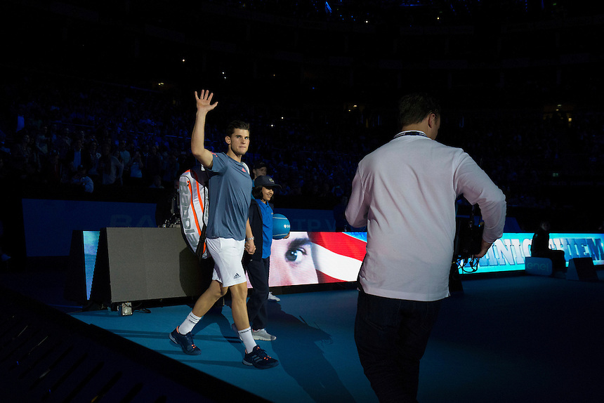 Dominic Thiem of Austria enters the arena to play against Milos Raonic of Canada in their Group Ivan Lendl match today<br /> <br /> Photographer Craig Mercer/CameraSport<br /> <br /> International Tennis - Barclays ATP World Tour Finals - Day 5 - Thursday 17th November 2016 - O2 Arena - London<br /> <br /> World Copyright &copy; 2016 CameraSport. All rights reserved. 43 Linden Ave. Countesthorpe. Leicester. England. LE8 5PG - Tel: +44 (0) 116 277 4147 - admin@camerasport.com - www.camerasport.com