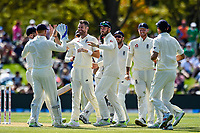 James Anderson and English team mates celebrates the wicket of Kane Williamson of the Black Caps during Day 2 of the Second International Cricket Test match, New Zealand V England, Hagley Oval, Christchurch, New Zealand, 31th March 2018.Copyright photo: John Davidson / www.photosport.nz
