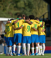 Brazil pre match team huddle during the Under 18 International friendly match between England U18 & Brazil U18 at Hednesford Town Football Club, Keys Park, Cannock on 8 September 2019. Photo by Andy Rowland.
