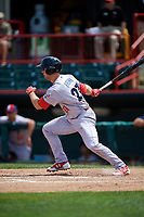 Reading Fightin Phils center fielder Aaron Brown (27) follows through on a swing during a game against the Erie SeaWolves on May 18, 2017 at UPMC Park in Erie, Pennsylvania.  Reading defeated Erie 8-3.  (Mike Janes/Four Seam Images)