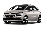 Stock pictures of low aggressive front three quarter view of a 2018 Citroen C4 Spacetourer Business + 5 Door MPV