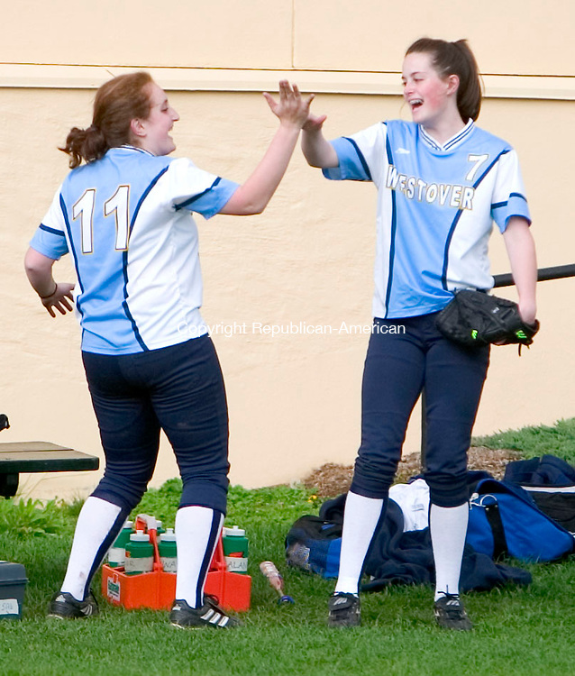 MIDDLEBURY, CT- 28 APRIL 07- 042807JT19-<br /> Westover's Alana Vogel and Emily Miranda during Saturday's game against Hamden Hill at Westover.<br /> Josalee Thrift Republican-American