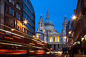 St Paul's Cathedral - Traffic Trails During Blue Hour