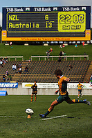 Eddie Bredenhahn takes a conversion attempt during the International rugby match between New Zealand Secondary Schools and Suncorp Australia Secondary Schools at Yarrows Stadium, New Plymouth, New Zealand on Friday, 10 October 2008. Photo: Dave Lintott / lintottphoto.co.nz
