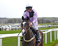 The Flying Sofa ridden by Jamie Moore and trained by Gary Moore goes down to the start of The SW Catering Chase during Horse Racing at Plumpton Racecourse on 10th February 2020