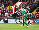 Leon Clarke of Sheffield Utd and Ben Davies of Preston North End during the championship match at the Bramall Lane Stadium, Sheffield. Picture date 28th April 2018. Picture credit should read: Simon Bellis/Sportimage