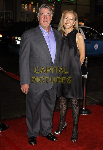 """BRUCE McGILL & GLORIA LEE.Premiere Screening Of Overture Films' """"Law Abiding Citizen"""" held At The Grauman Chinese Theatre, Hollywood, California, USA..October 6th, 2009.full length grey gray suit black dress married husband wife.CAP/ADM/KB.©Kevan Brooks/AdMedia/Capital Pictures."""