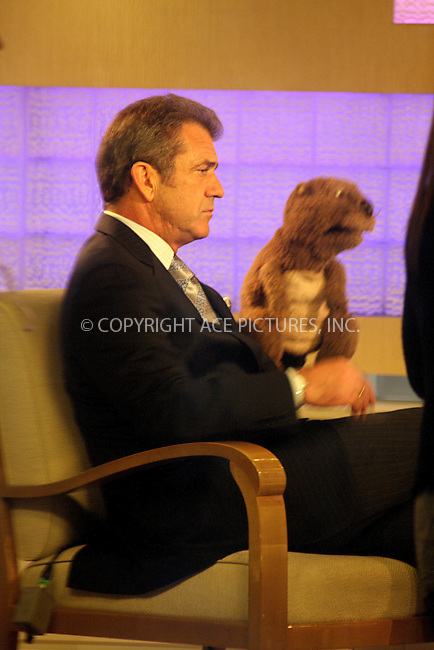 """WWW.ACEPIXS.COM . . . . .  ..October 12, 2009. New York City...Actor Mel Gibson shoots his new movie """"The Beaver"""" at the NBC Studios on October 12, 2009 in New York City....Please byline: Joanne Juele - ACEPIXS.COM.. *** ***.Ace Pictures, Inc:  .Philip Vaughan (646) 769 0430.e-mail: info@acepixs.com.web: http://www.acepixs.com"""