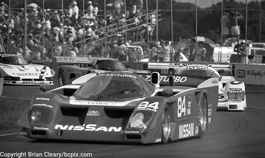 The #84 Nissan GTP ZX-T of Chip Robinson races through a turn during the IMSA GTP/Lights race at the Florida State Fairgrounds on the way to a 4th place finish in Tampa, FL, October 1, 1989. (Photo by Brian Cleary/www.bcpix.com)