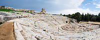 Panoramic photo of Teatro Greco (Greek Theater), the Greek Amphitheatre at Syracuse (Siracusa), UNESCO World Heritage Site, Sicily, Italy, Europe. This is a panoramic photo of Teatro Greco (Greek Theater), the Greek Amphitheatre at Syracuse (Siracusa), UNESCO World Heritage Site, Sicily, Italy, Europe.