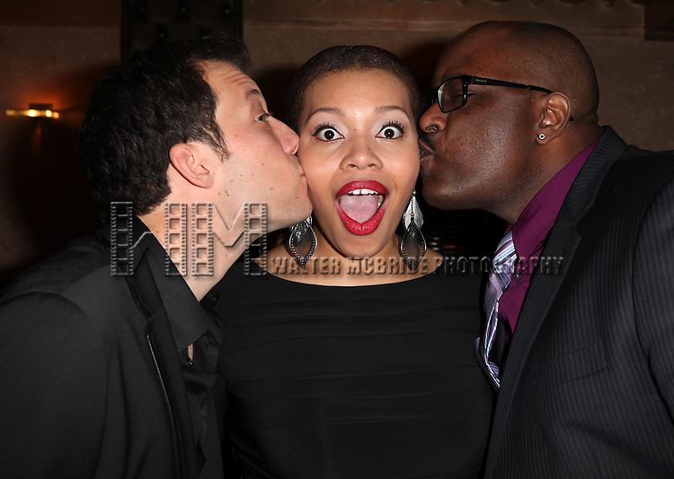 John Tartaglia, Carmen Ruby Floyd & J. Bernard Callaway attending the Vineyard Theatre's 30th Anniversary Gala Celebration Cocktail Reception at the Edison Ballroom in New York City on 3/18/2013